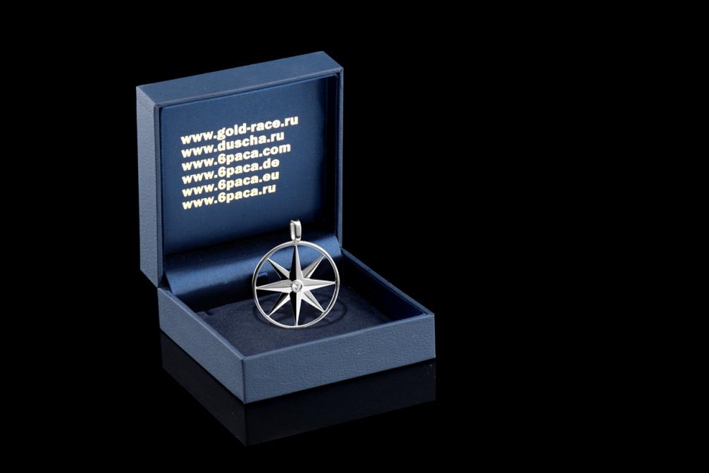 """Амулет """"Звезда Союза"""", серебряный с бриллиантом / Anhänger """"Der Stern der Union"""" aus Silber mit einem Diamanten (Schmuck)"""